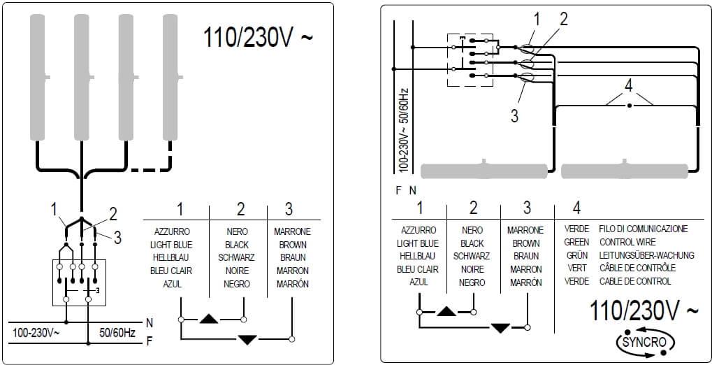 Схема подключения проводов 110/230В