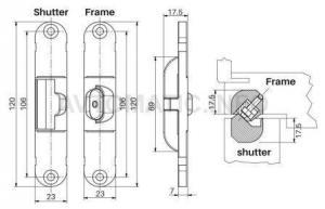 Петли Стабилизатор для скрытых петель, 120x23 мм, цамак, никель матовый