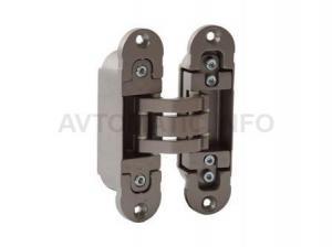 Петля скрытая, универсальная, 3D, 120x30 мм, 80 кг, цамак/алюминий, никель матовый