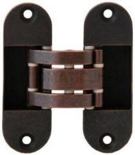 Петля скрытая, универсальная, нерегулируемая, 90x30 мм, 60 кг, цамак, бронза