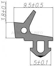 """Уплотнитель для профиля KBE (255) (стеклопакет), чёрный, """"ELEMENTIS"""", ТЭП"""