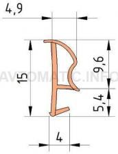 Уплотнитель контурный для межкомнатных дверей DEVENTER, ПВХ (т), киби RAL 8001