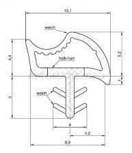 Уплотнитель контурный для межкомнатных дверей DEVENTER, ПВХ, орех