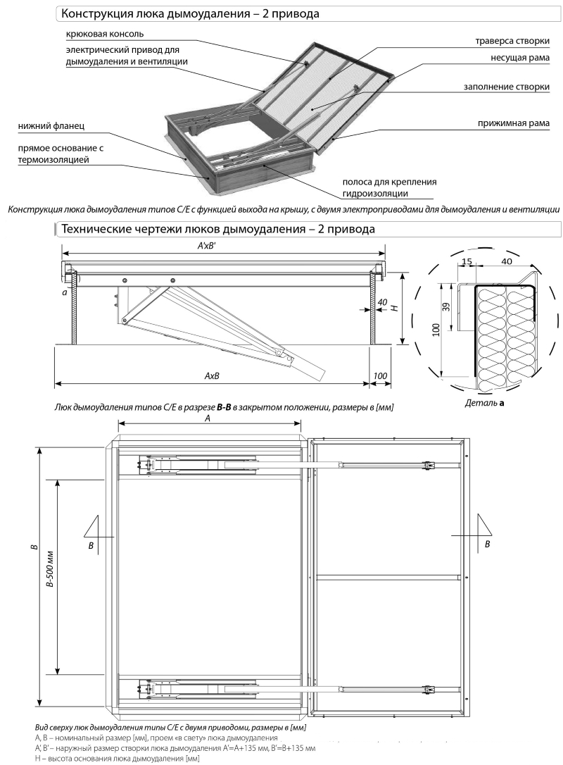 Люки дымоудаления одностворчатые с функцией выхода на крышу (2 привода)