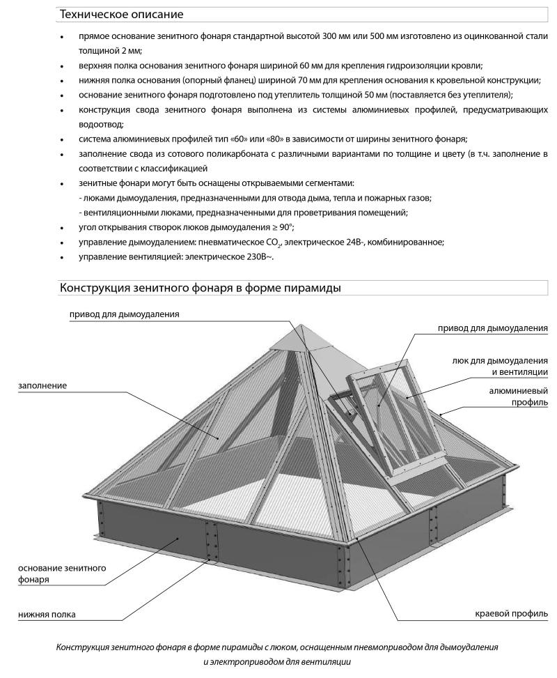 Зенитные фонари в форме пирамиды