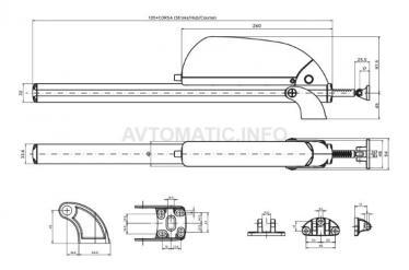 Электропривод реечный RACK MAX 650, 24В, 350мм, серебро, 07446000